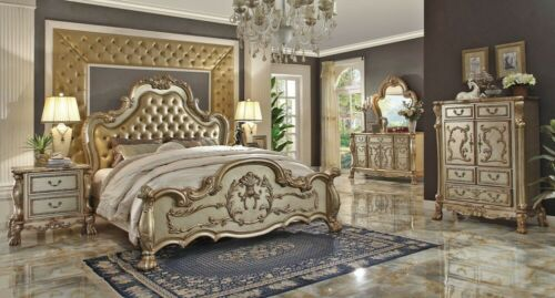 Dresden Classic Luxury Upholstered 4PCS King Bed Bedroom Set Antique Gold Patina