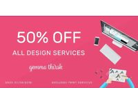 50% OFF Freelance Graphic Design Services - Starts £29 - Logo Design, Branding & Print Services