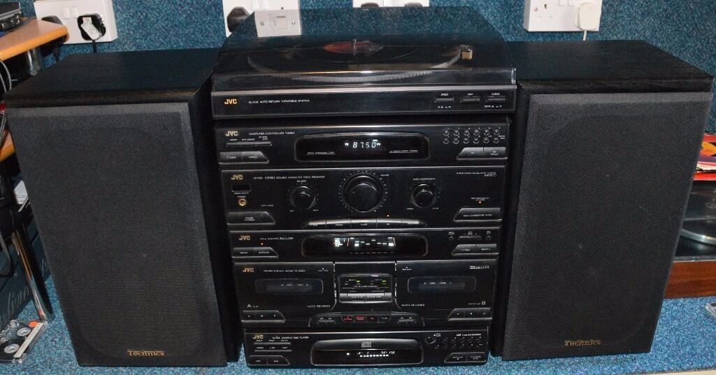Jvc Hi Fi System With Turntable And Technics Speakers