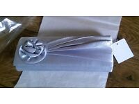 NEW SILVER SATIN CLUTCH BAG ~ WEDDING ~ PARTY ~ OCCASION