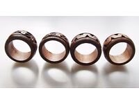 4 hand carved wood napkin rings