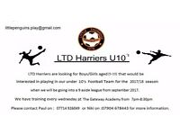 Little Thurrock Harriers are looking for players at U10 for the 2017 season, Girls and Boys welcome