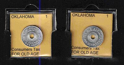 OKLAHOMA 1 Aluminum OLD AGE TAX TOKEN RECEIPT    BRILLIANT UNCIRCULATED