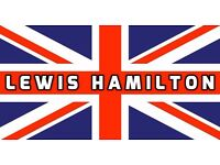 LEWIS HAMILTON UNION JACK F1 GRAND PRIX FLAG BANNER GARAGE - BEDROOM - WORKSHOP - PUB - MANCAVE