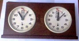 A QUALITY VINTAGE , MECHANICAL & PATTERNED WOOD, TOWER CHESS CLOCK.