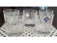5 x Edinburgh Crystal Whisky Tumblers Unused