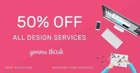 50% OFF Freelance Graphic Design - Starts at £29 - Logo Design, Branding & Print Services
