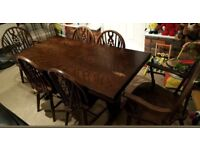 DARK BROWN WOOD TABLE AND 4 CHAIRS
