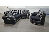 Designer Fabric L-Shape Corner Sofa & Cuddle Swivel Chair