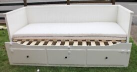 Ikea Hemnes Day Bed, single or king or sofa, with 3 drawers and 2 mattresses
