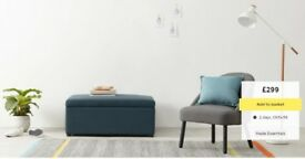 NEW! MADE. com FIP Ottoman Single Sofa Bed folding guestbed with mattress Pouffe Aegean Blue (teal)