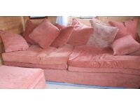 LARGE PARTY SOFA REMOVABLE COVERS AND LARGE POUFFE'