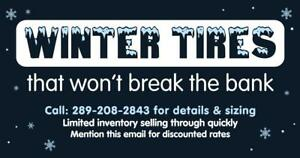 WINTER SNOW TIRE CLEARANCE SALE LOCATED IN BURLINGTON 195 60 15 205 55 16 225 55 60 65 17 235 55 17 235 55 19