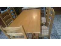 Dining table and 5 chairs available for sale. Moving house but there is no space in the new place.