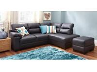 X DISPLAY BLACK LEATHER COMPACT RIGHT HAND CORNER SOFA SASKIA ‼️ EXCELLENT CONDITION - DELIVERY