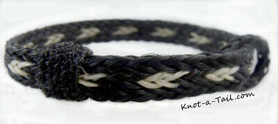 Black // white tirm Horsehair bracelet adjust x-sm to XLG horsehair bracelet