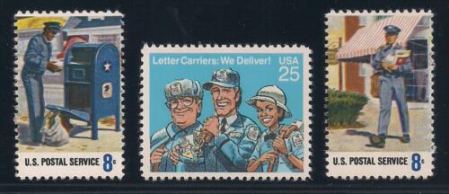 USPS LETTER CARRIERS - MAILMAN MAIL - SET OF 3 U.S. STAMPS - MINT CONDITION