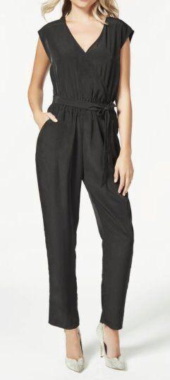 Womens Wrap Jumpsuit in Black - Size XS/ UK 10 - £20
