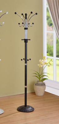 Metal and wood coat rack with multiple hooks and heavy base- BLACK FINISH ()