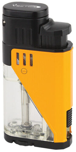 Yellow Lacquer Vector Twister Dual Flame Jet Torch Cigar Butane Lighter - 9311