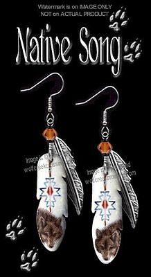 NATIVE SONG WOLF EARRINGS - WESTERN CALL OF WILD ART WOLVES JEWELRY - FREE SHIP