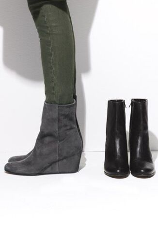 VINCE tan gray Mushroom color Michela ankle wedge boots booties 7 37.5 $298