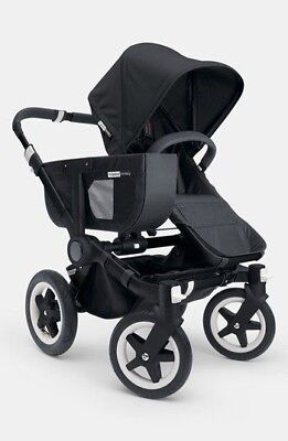 BUGABOO DONKEY 2016 MONO DOUBLE STROLLER PRAM BLACK EXTENDED CANOPY PUSHCHAIR  for sale  Mica