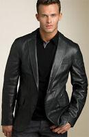 HUGO BOSS Luxury Black Nappa Lambskin Leather Blazer Jacket 42