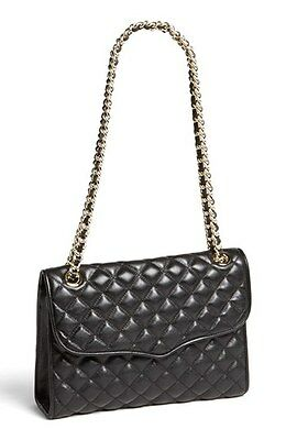 NEW Rebecca Minkoff Quilted AFFAIR Leather Flap Shoulder Bag BLACK GOLD CHAIN