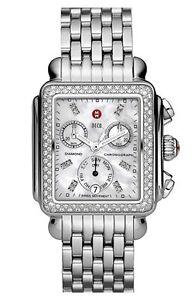 MICHELE Deco Diamond Watch Case & 18mm Bracelet