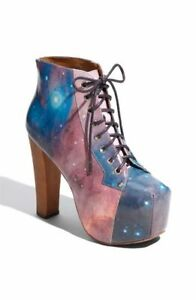 Jeffrey Campbell Lita Lace-Up Booties in Cosmic/Galaxy