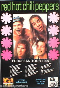 red hot chili peppers european tour 1990 poster freaky ebay. Black Bedroom Furniture Sets. Home Design Ideas
