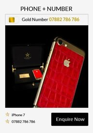 iPhone 7 - 256GB - 24Kt Gold Embossed with Red Crocodile Skin & Swarovoski Crystals (Phone+Number)