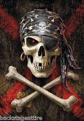 "ANNE STOKES Pirate Crossbones/Skull 29""X43"" Cloth Poster Flag Fabric Art-New!!"
