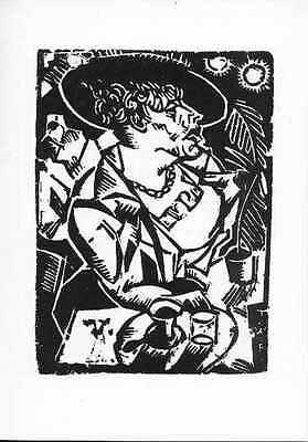 Georg Tappert Dame im Café II Original Linolschnitt um 1918