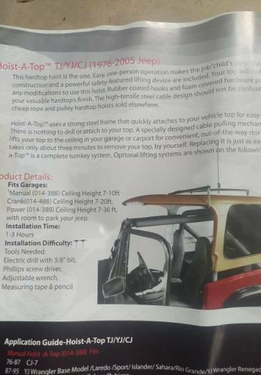 Jeep Wrangler Hardtop Storage Cart and Manual Hoist-a-Top   Other