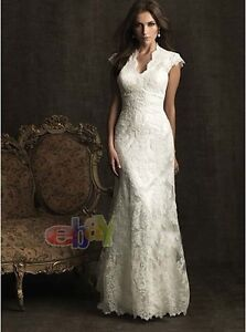 Sexy-Ivory-Lace-Wedding-Dress-Bridal-Formal-Prom-Gown-Size-6-8-10-12-14-16-18