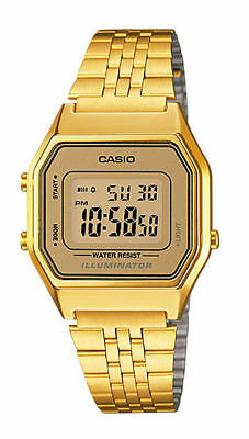 Casio Ladies Mid Size Gold Tone Digital Retro Multi-Function Watch LA680WGA9DF