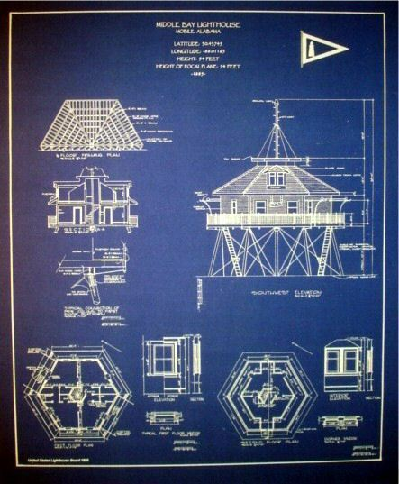 "Vintage American Lighthouse Mobile Bay Alabama Blueprint Plans  18"" x 21"" (266)"