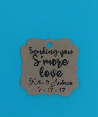 24 Personalized Wedding /Bridal Shower favor tags, S'mores, Smore love