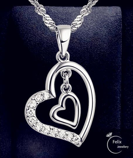 Jewellery - Double Heart Pendant 925 Sterling Silver Necklace Chain Women's Jewellery Gifts