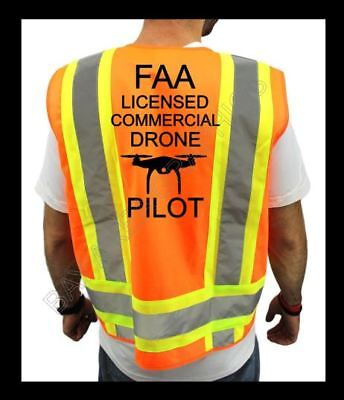 FAA DRONE PILOT HIGH VISIBILITY SAFETY ORANGE VEST BLACK DESIGN DRONE S-M-L-XL