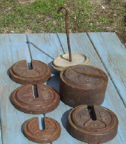 Lot of Cast Iron Platform Scale Counter Weights & Hanger ( Fairbanks / Howe ? )