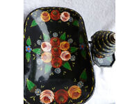Vintage Handpainted Traditional Roses Cast Iron Metal Kitchen SCALES Canalware Bargeware Imperial