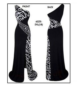 Women's One Shoulder Zebra Gemstones Stitching Evening Dress
