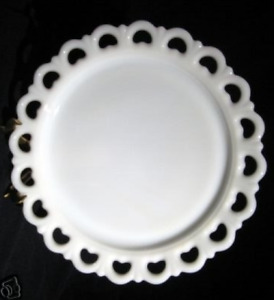 """13"""" Old Colony Milk Glass Lace Edge Cake Plate/Torte Platter"""