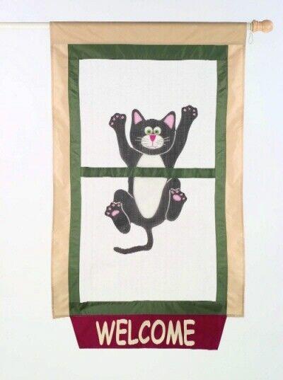 welcome cat come hang out screen door