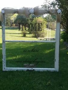 Wood window with Home is where our story begins -quote