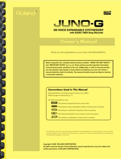 Roland Juno-G Synthesizer Owner s Manual AND Service Notes - $24.95