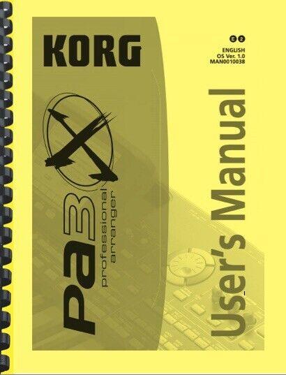 Korg PA3X Keyboard USER S MANUAL - $24.95